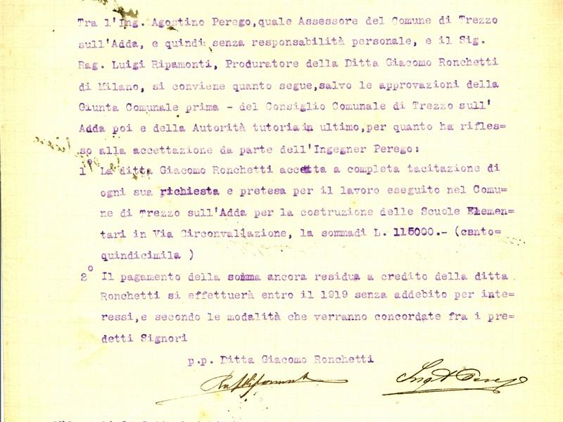 Intercessione Perego per Ronchetti 1918
