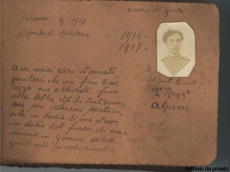 Album fotografico in cartoncino rilegato di Camillo Fodera, 1917
