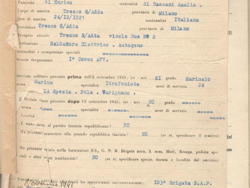 Foglio matricolare di Celeste Albani ASMi, Distretto Militare di Monza, classe 1921, Matricola 22861