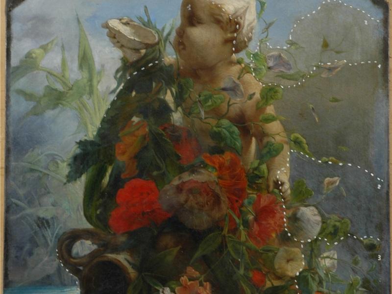 Laghetto con putto, anfora e fiori durante il restauro
