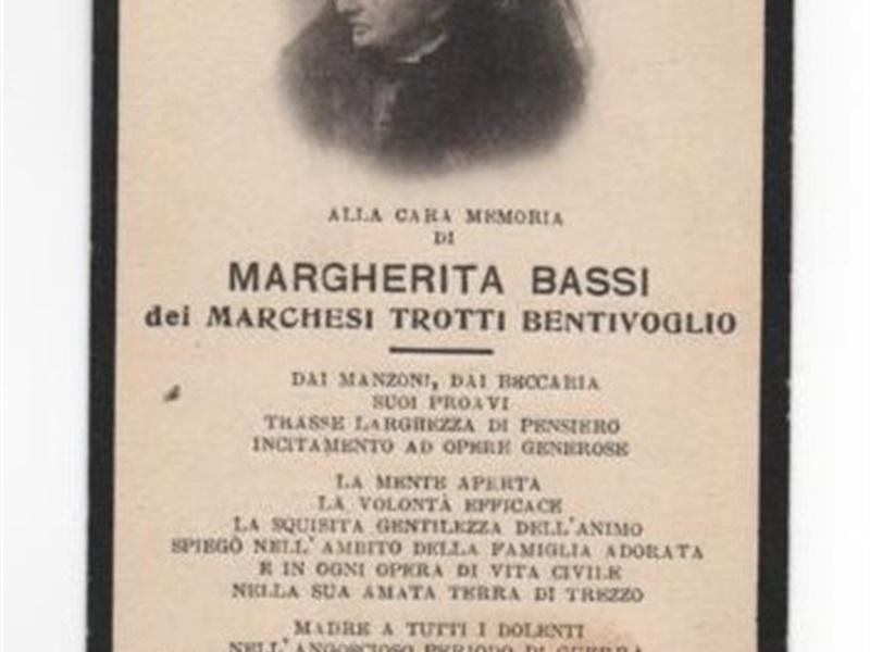 Ricordo di Donna Margherita, distribuito nell'occasione dei funerali, a Trezzo (1921)