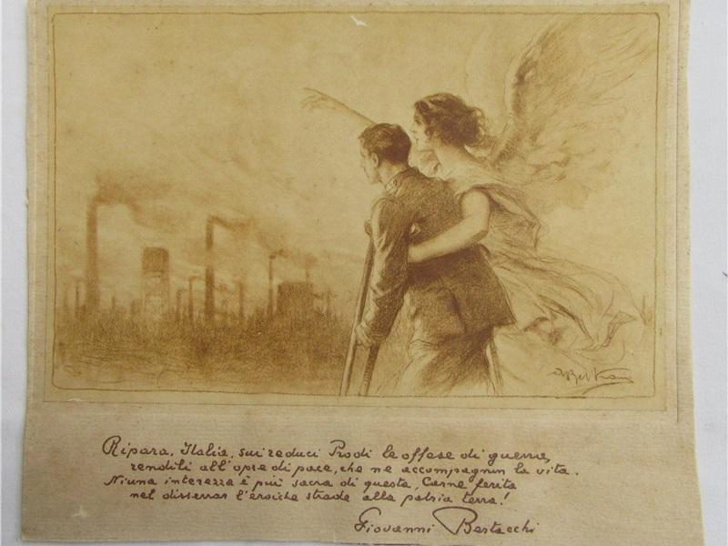 Stampa con iscrizione poetica e illustrazione, 1919